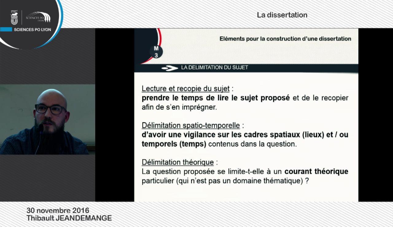 30/11/2016 La dissertation par Thibault JEANDEMANGE